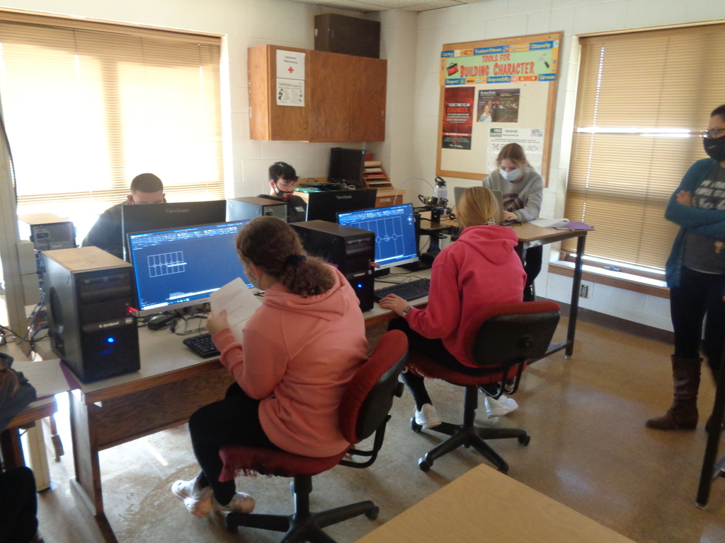 Eighth-grade student in Industry Tech are learning the basic commands to run AutoCAD.