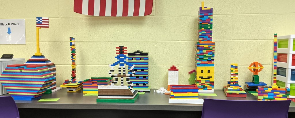 Lego towers and I AM sticky notes